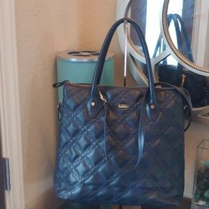 Kate Laundry expandable quilted Navy handbag